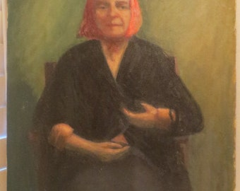 Vintage Oil Portrait Old Woman in RED SCARF Babushka Peasant Original Painting c. 1960s