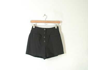 Vintage 90's high waisted black shorts, women's small / 3 / 2