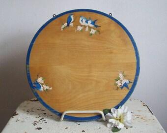 Antique blue birds cutting board hand painted blue birds birch cutting board hang or sit charming blue decor
