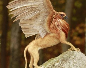 Custom made needle felted Griffin, fantasy creature, mythological beast
