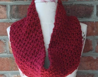 Super Soft and Thick Cranberry Red Cowl
