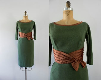 1950s Greenery Avenue wool wiggle dress / 50s moss & rust
