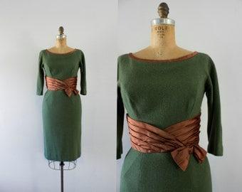 1950s Greenery Avenue wool wiggle dress / 50s moss & rust