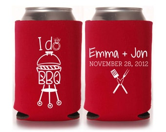 Engagement Party Favors - I Do BBQ Personalized Wedding Shower, Can Coolers, Couples Shower, Beer Insulators, Reception Favors for Guests