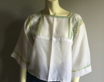 embroidered 70s bell sleeve white cotton blouse with square straight neckline 1970s embroidery top medium M large L boho hippie folk vintage
