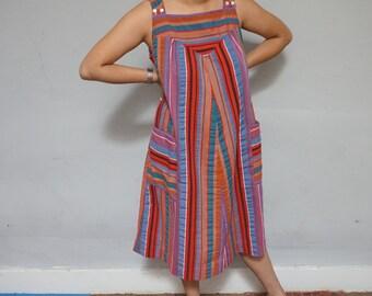 seminole chevron striped 70s vintage 1970s craft folk hippie indie kitsch hipster aline midi cotton dress extra large pockets  women vintage