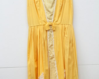 Mellow Yellow, Vintage, 1950s Pastel Yellow Midi Dress with Gingham Trim, Paris Vintage