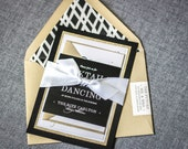 "Black and Gold Wedding Invitations, Glitter Invitations, Modern Wedding Invites - ""Classic Elegance"" Flat Panel, 2 Layers, v1 - SAMPLE"