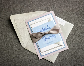 """Calligraphy Invitations with Silver Glitter, Periwinkle Wedding, Modern Wedding Invitations, Layered Invitation """"Calligraphy Chic"""" FP-2L-v1"""