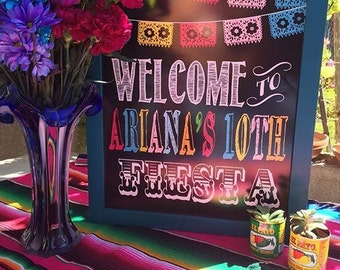 "Personalized Colorful ""Welcome to Fiesta"" Faux Chalkboard (Digital file)"