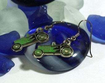 Green Hot Rod Dragster Drag Strip Race Car Enamel Charm Earrings - Race Fan Earrings - 925 sterling silver and clip on available