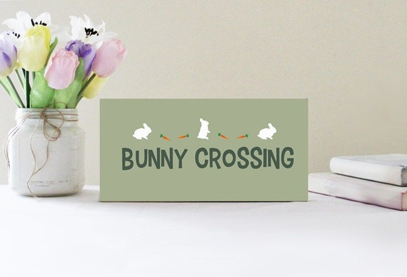 Bunny Crossing Wood Easter or Spring Sign