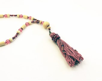 Dusty Rose Pink Beaded Tassel Necklace, Bohemian Jewelry, Long 32 inch Beaded Necklace, Adjustable Length Boho Necklace