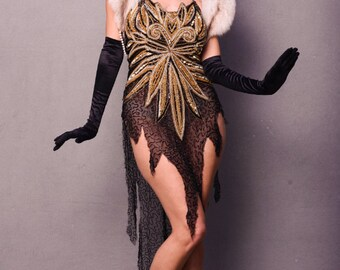 Gold And Black Vintage Up Cycled Beaded 1920's  Butterfly dress, Cocktail Dress, Dance Costume, Beaded Top,Showgirl,  Lingerie, Masquerade