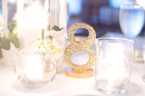 Glitter table numbers centerpiece signs for wedding table for Glitter numbers for centerpieces