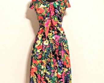 SALE vintage floral tie-neck dress - 1980s-early 90s Kate Warner floral cotton dress