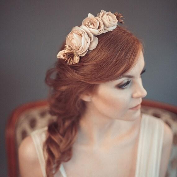 Wedding headpiece - Flower crown - Bridal headband - Wedding headband - Flower headpiece - Beige floral crown