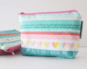 simple pouch -- striped color crush hearts
