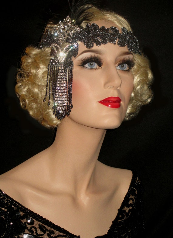 Shades Of Grey Great Gatsby Headband 20s Art Deco Headband
