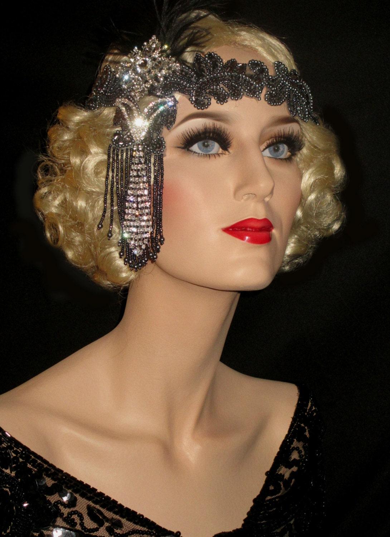 Shades Of Grey Great Gatsby Headband 20s Art Deco Headband