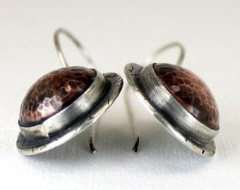 Tribal Shield Earrings - Sterling Copper Earrings - Sterling Disc Earrings- Artisan Earrings - Warrior Woman Mixed Metal Tribal Shield