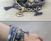 Denim Blue Bohemian Gypsy Style Bracelet, Multi Layer Bracelet, Navy Blue Bracelet, Anchor Bracelet, Summer Boho Jewelry, Indigo Bracelet
