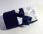 New! Handmade Flannel Baby Blanket - Navy Blue and White with Sailboats - Reversible Baby Blanket, Baby Shower Gift, Receiving Blanket