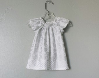 Baby Girls White & Silver Dress and Bloomers Outfit - Metallic Silver Trees - Infant Flutter Sleeve Dress - Size Nb, 3m, 6m, 9m, 12m or 18m