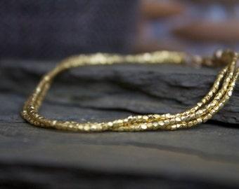 Gold bracelet, gold stacking bracelet, layering gold bracelet, gold beaded bracelet, triple wrap gold bracelet, 24k gold vermeil bracelet