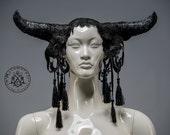 Black horned headdress with lace and tassels / Bull horn headpiece / Dark fusion / Gothic ox horn headdress / Halloween headdress / LARP