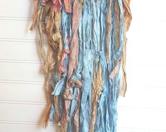 Fiber Art Textile Textured Wall Hanging Serene Blue Taupe Pink Moss
