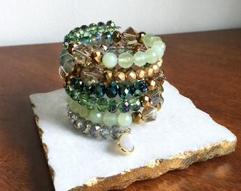 Shades of Green Bracelet // Gemstone Bracelet, Crystal Bracelet, Neutral Bracelet, Wrap Around Bracelet, Jade Bracelet, Mint Bracelet, OOAK