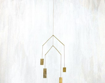 Tiered Mobile with Rectangular Forged Brass and Chain, 3D