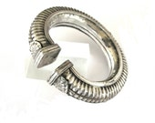 Antique Indian Bracelet, Indian Silver Cuff Bracelet, Hollow, Slightly Oval,  Madhya Pradesh, Ethnic Tribal, 68.3 Grams (2.410oz)