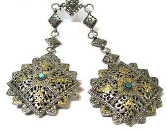 Bhutan Koma Brooches, Bhutanese Fibulas, Silver, 10kt Gilded, Turquoise, Buddhist Symbol Knot of Eternity Chain, 137 Grams  (4.84oz)