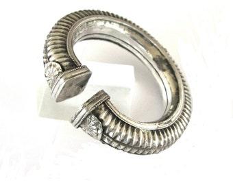 Antique Indian Bracelet, Indian Silver Cuff Bracelet, Hollow, Slightly Oval,  Madhya Pradesh, Ethnic Tribal, 68.3 Grams (2.410oz)