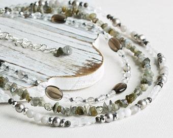 Gray Three Strand Gemstone Necklace with Labradorite, Smoky Quartz, Pearls and Czech Glass