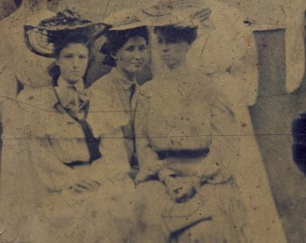 Five Women In White Cotton Dresses and SPRINGTIME VICTORIAN HATS Tintype Photo Circa 1880s