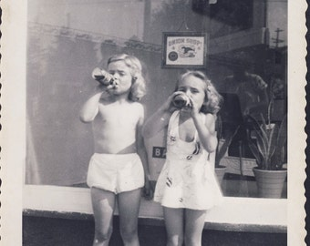 Two Darling Little Girls DRINKING STRAWBERRY SODA Pop In Front of Barber Shop Photo Circa 1940s