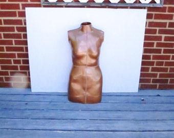 Vintage Copper Tone Papier Mache Realistic Female Torso