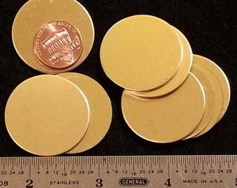 """18 gauge solid Brass circle disc with or without holes - 1-1/4"""" round - Stamping Tags Label pendants luggage and more"""