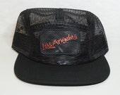 Los Angeles 5 Panel Black Mesh Trucker Hat Skater Camper