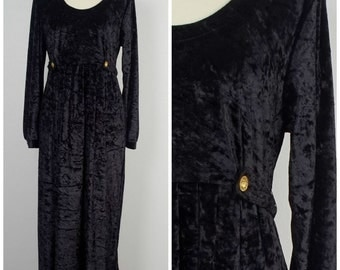 long crushed black velvet dress goth 90s grunge minimalist long sleeve scoop neck LBD Medium large 14 Brett Alexander