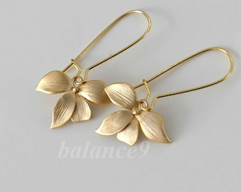 Gold Orchid Earrings, delicate charm drop kidney dangle, One flower design, bridesmaid gift wedding jewelry, holidays gift, by balance9