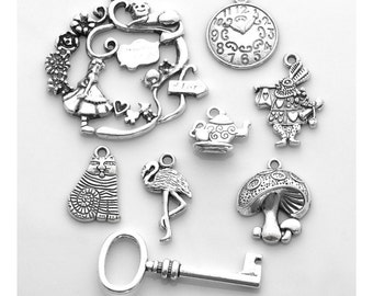 Alice in Wonderland charm set - set of 8 silver charms: Alice, Cheshire Cat, March Hare, clock, key, teapot, flamingo and mushroom