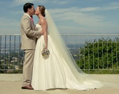 90 inch single tier classic, sheer simple, elegant plain cathedral veil bridal veil wedding veil chapel veil light ivory diamond white blush