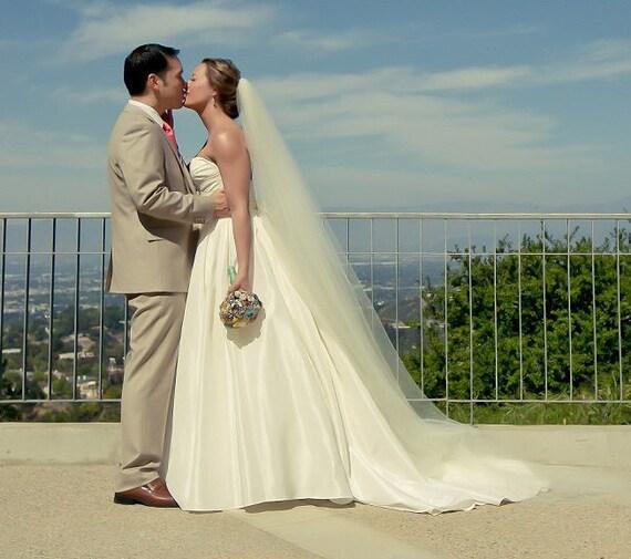 90 inch single tier classic, sheer, and simple, elegant plain chapel length bridal veil, wedding veil, chapel veil