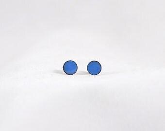 Tiny Blue Enamel Circle Posts Studs