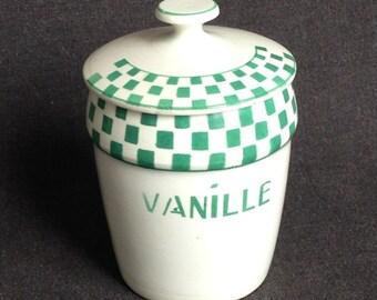 French vintage Vanilla jar. Kitchen retro decor display.