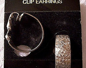 Brushed Weaved Hoops Clip On Earrings Silver Tone Wide Flat Band Textured Open Ring Dangles